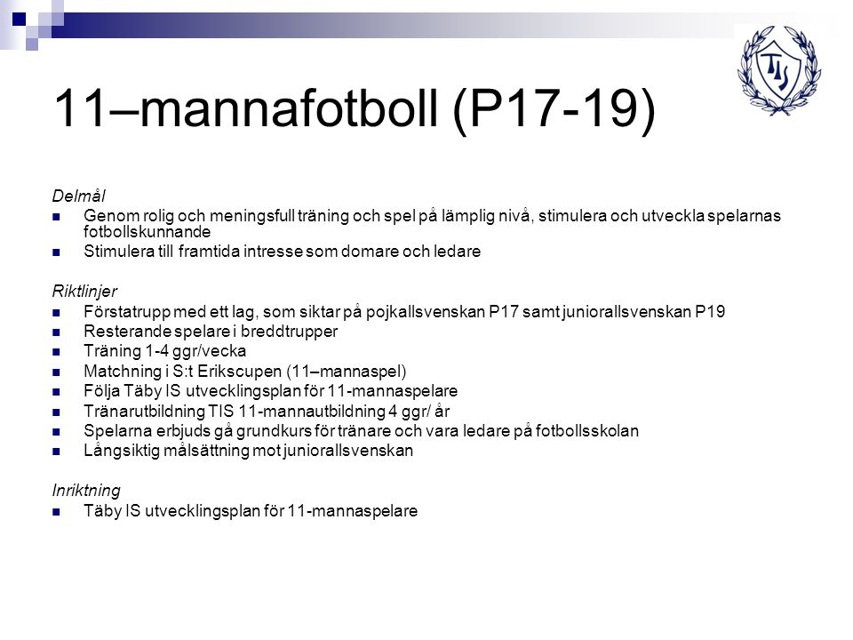 11–mannafotboll (P17-19) Delmål