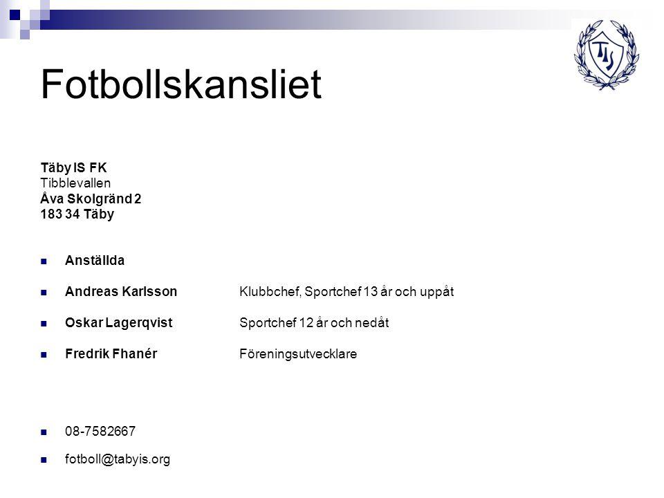 Fotbollskansliet Täby IS FK Tibblevallen Åva Skolgränd 2 183 34 Täby
