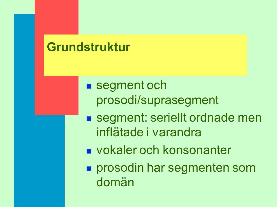 Grundstruktur segment och prosodi/suprasegment. segment: seriellt ordnade men inflätade i varandra.