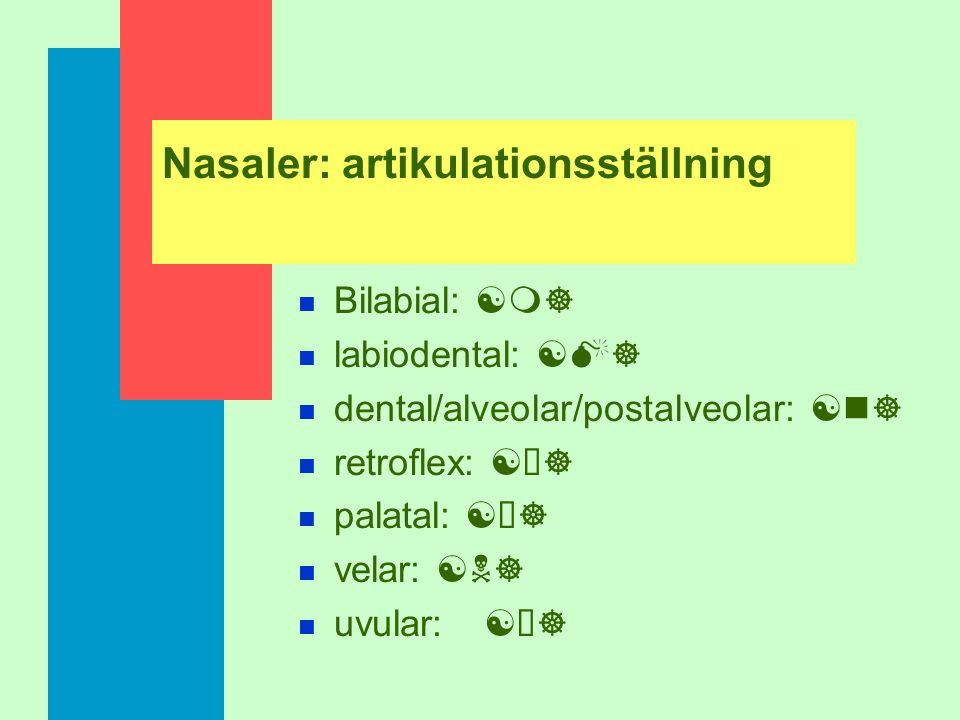 Nasaler: artikulationsställning