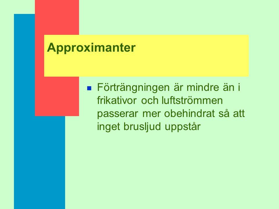 Approximanter Förträngningen är mindre än i frikativor och luftströmmen passerar mer obehindrat så att inget brusljud uppstår.