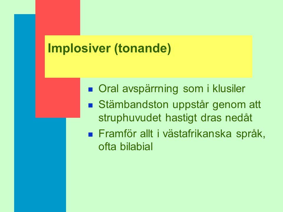 Implosiver (tonande) Oral avspärrning som i klusiler