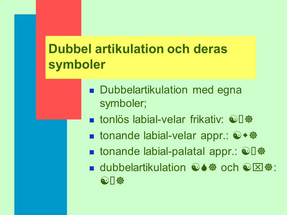Dubbel artikulation och deras symboler