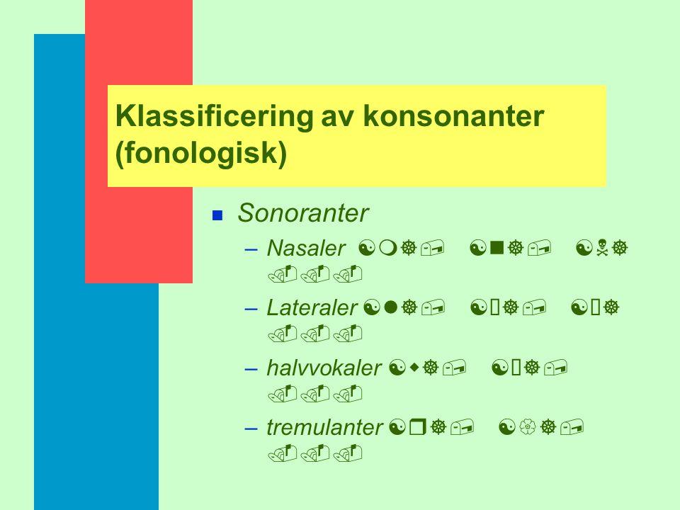 Klassificering av konsonanter (fonologisk)