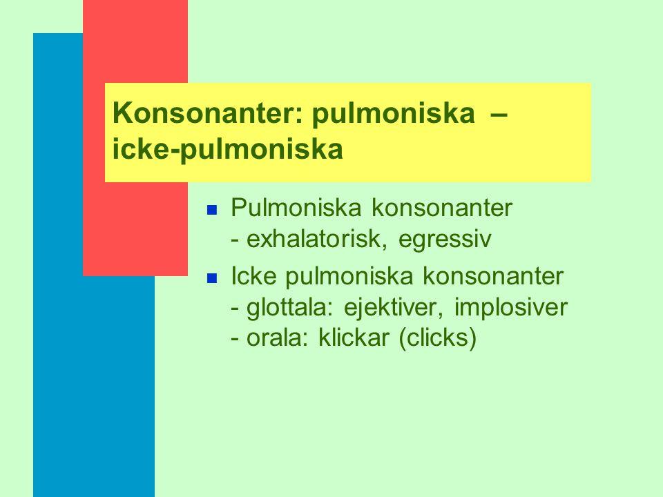 Konsonanter: pulmoniska – icke-pulmoniska
