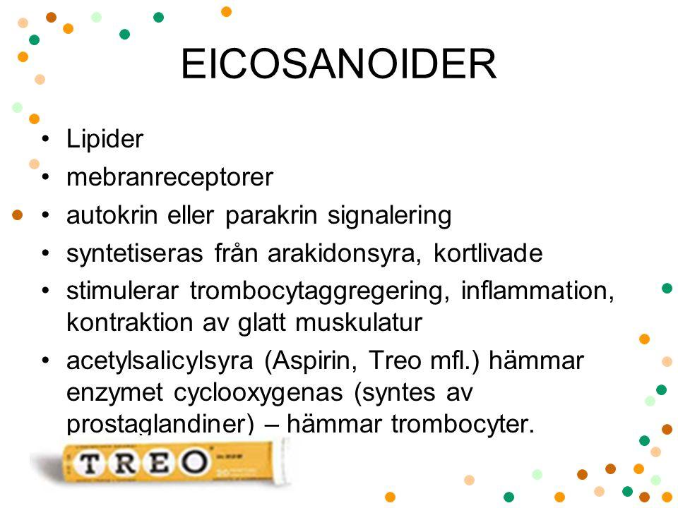 EICOSANOIDER Lipider mebranreceptorer