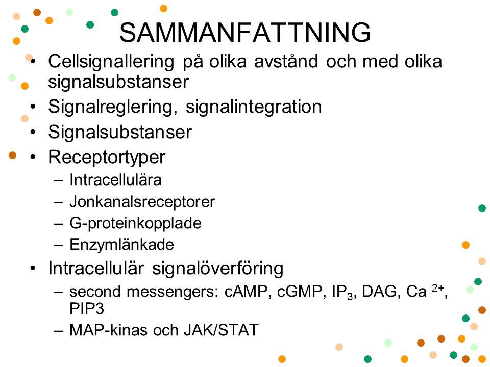 SAMMANFATTNING Cellsignallering på olika avstånd och med olika signalsubstanser. Signalreglering, signalintegration.