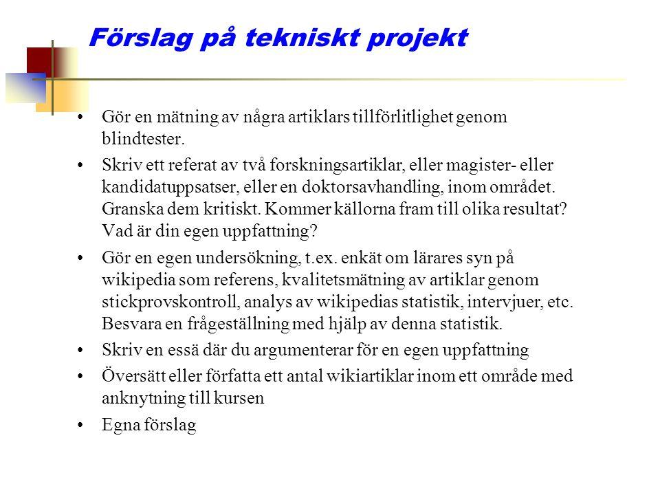 Förslag på tekniskt projekt