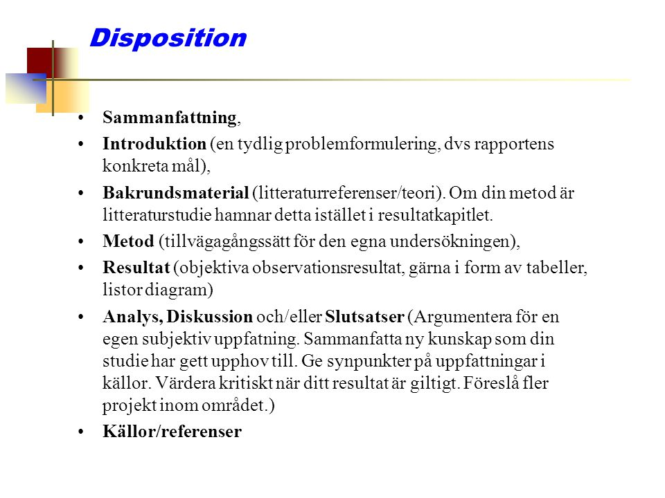 Disposition Sammanfattning,