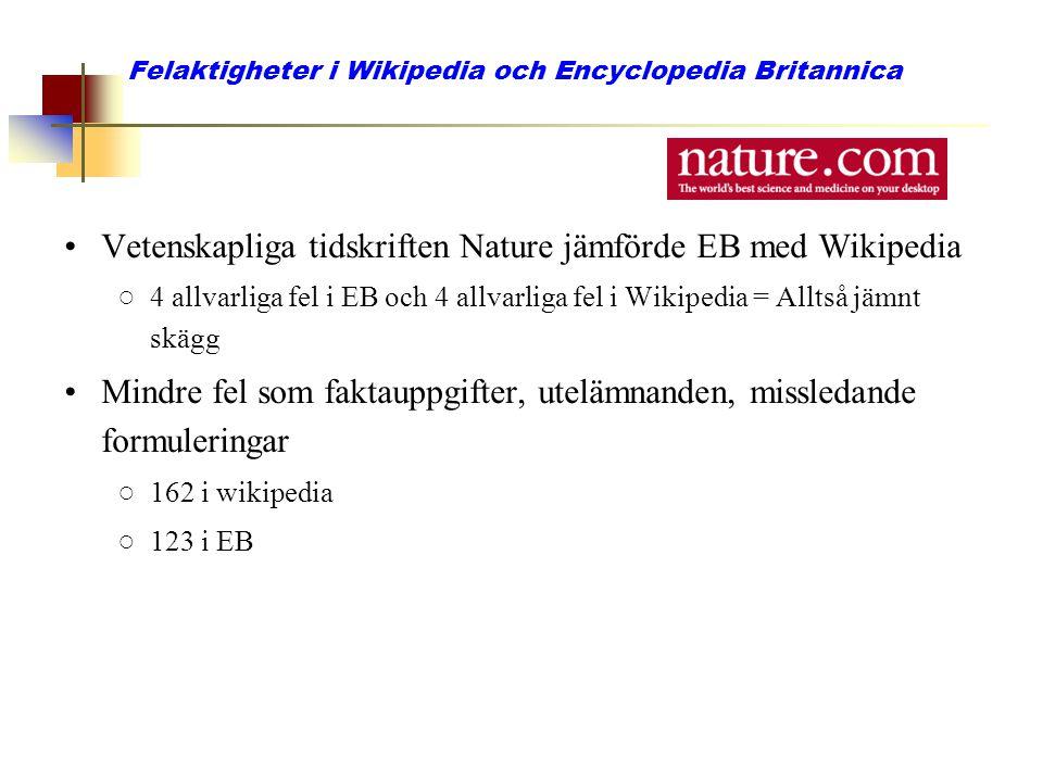 Felaktigheter i Wikipedia och Encyclopedia Britannica
