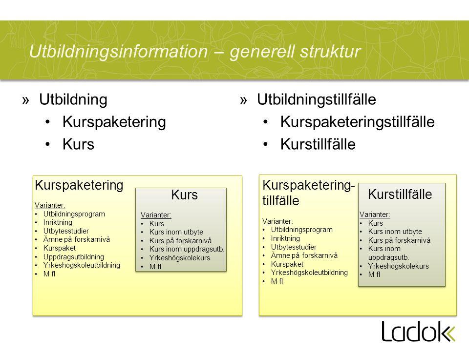 Utbildningsinformation – generell struktur