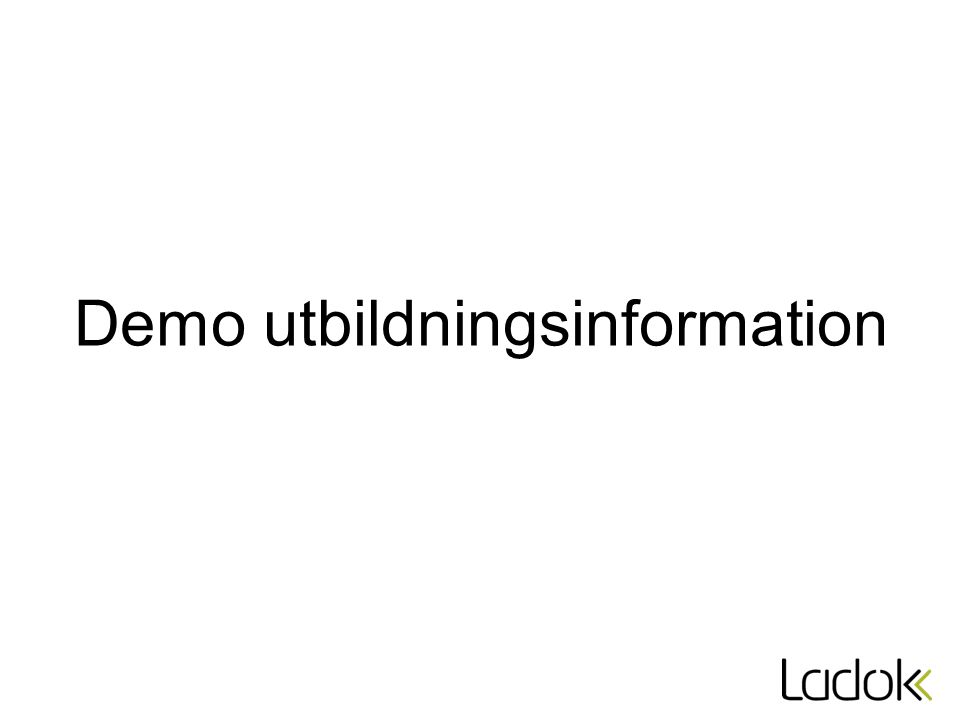Demo utbildningsinformation