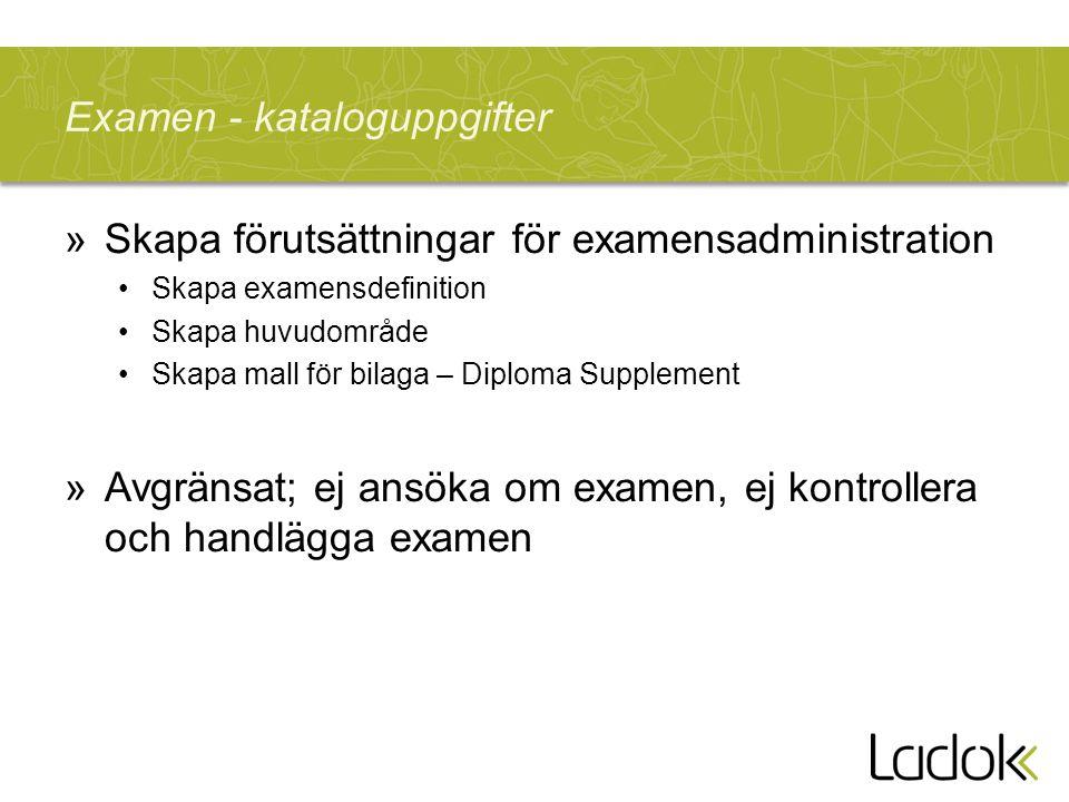 Examen - kataloguppgifter