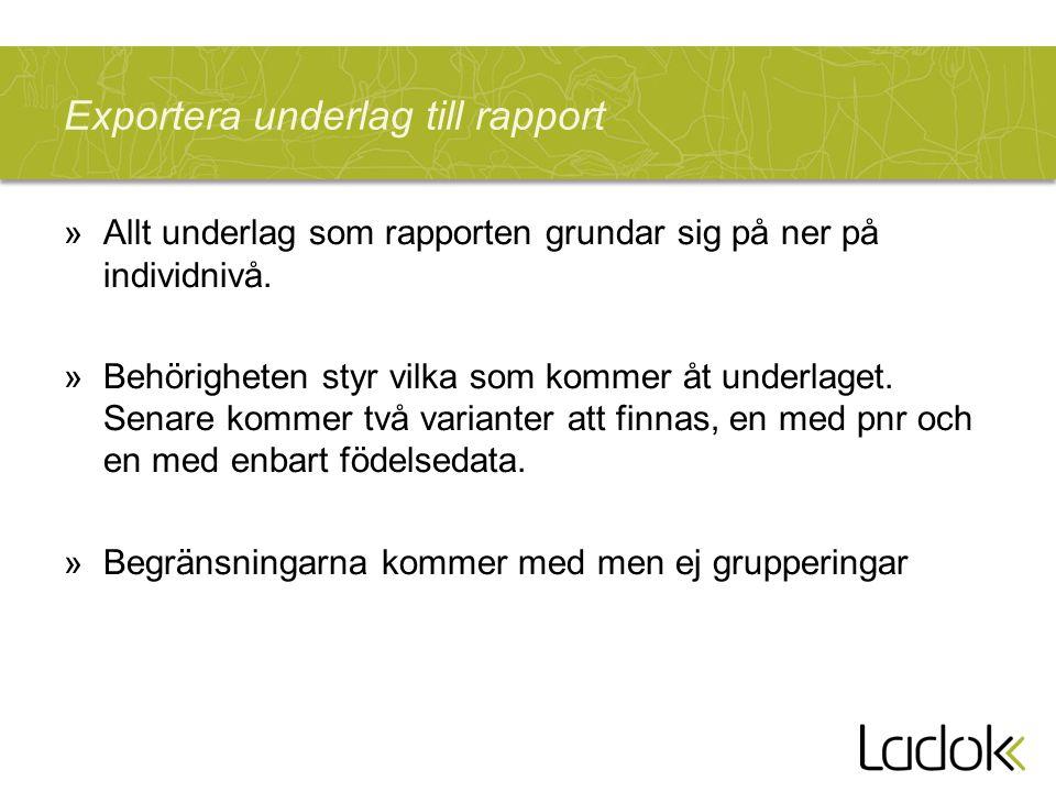 Exportera underlag till rapport