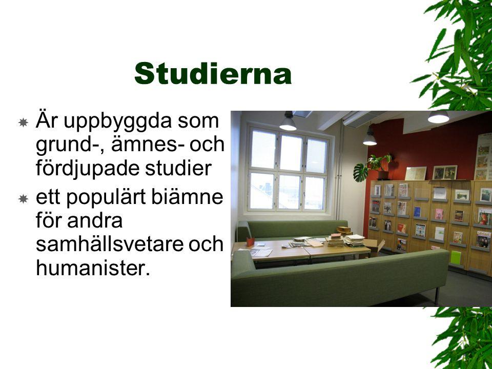 Studierna Är uppbyggda som grund-, ämnes- och fördjupade studier
