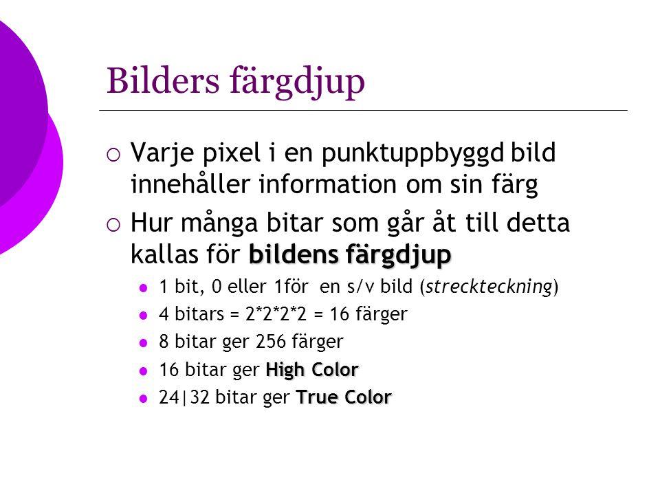 Bilders färgdjup Varje pixel i en punktuppbyggd bild innehåller information om sin färg.