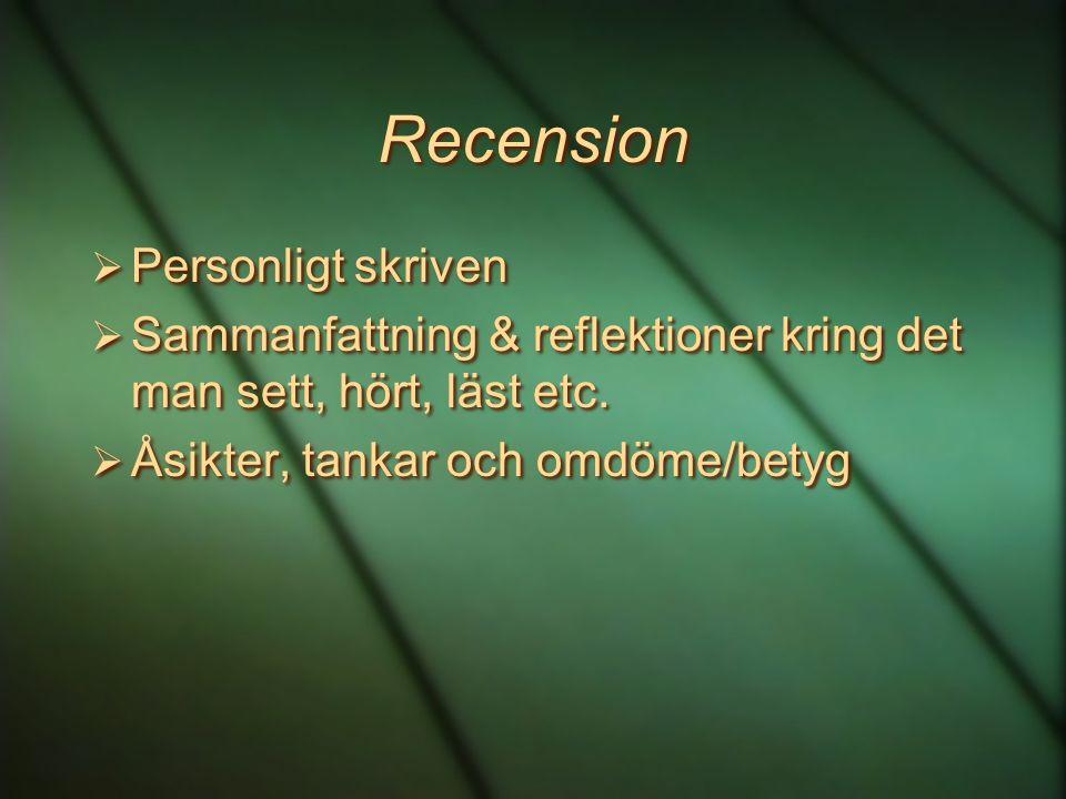 Recension Personligt skriven