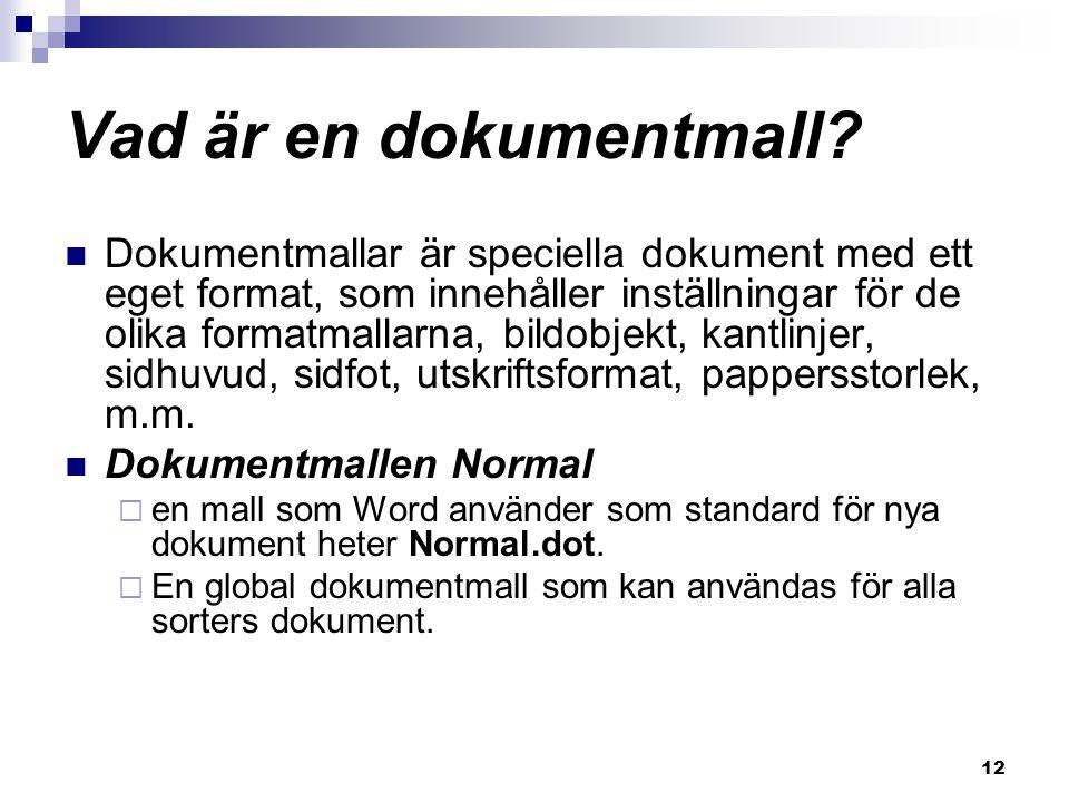 Vad är en dokumentmall