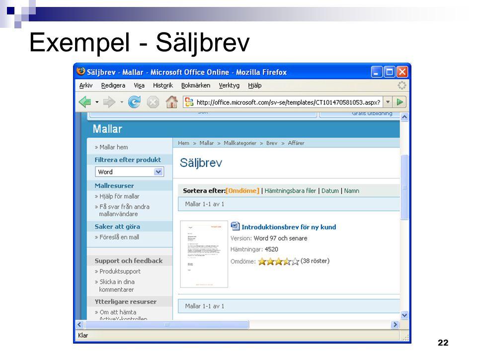 Exempel - Säljbrev