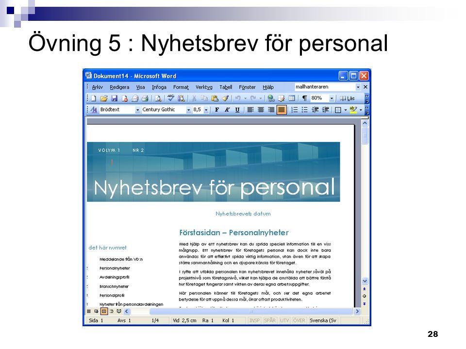 Övning 5 : Nyhetsbrev för personal