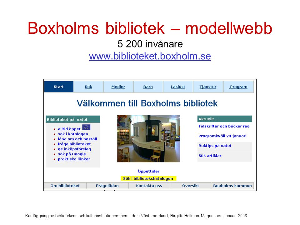 Boxholms bibliotek – modellwebb 5 200 invånare www. biblioteket