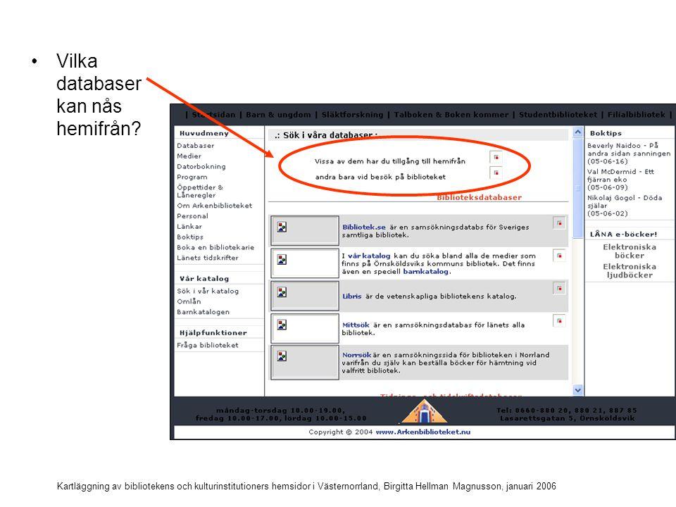 Vilka databaser kan nås hemifrån