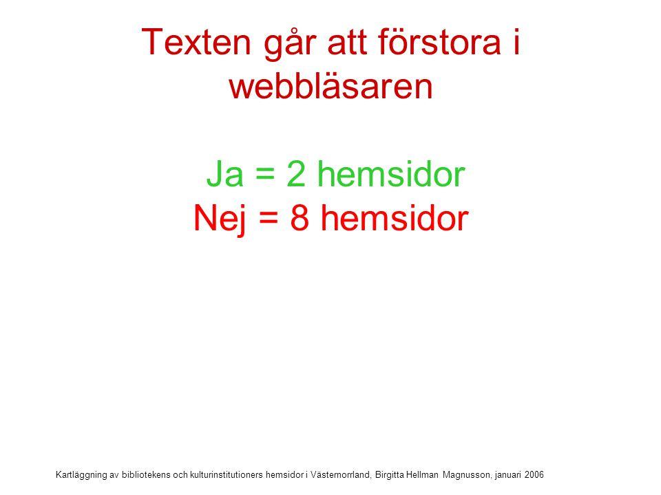Texten går att förstora i webbläsaren Ja = 2 hemsidor Nej = 8 hemsidor