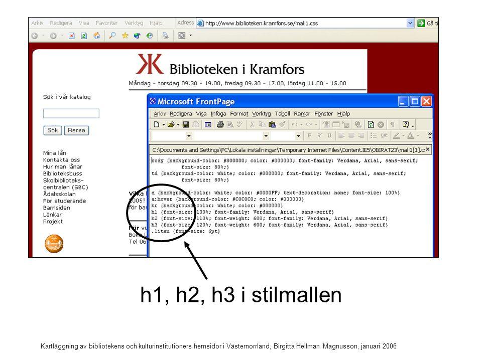 h1, h2, h3 i stilmallen Kartläggning av bibliotekens och kulturinstitutioners hemsidor i Västernorrland, Birgitta Hellman Magnusson, januari 2006.
