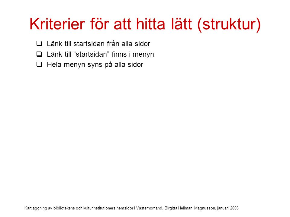 Kriterier för att hitta lätt (struktur)
