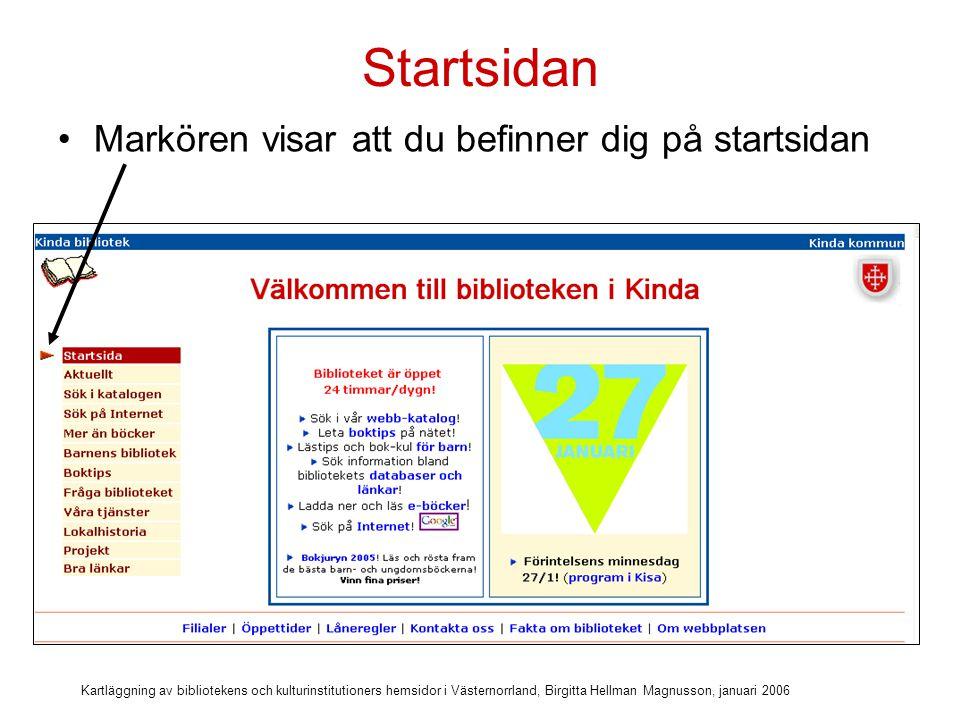Startsidan Markören visar att du befinner dig på startsidan