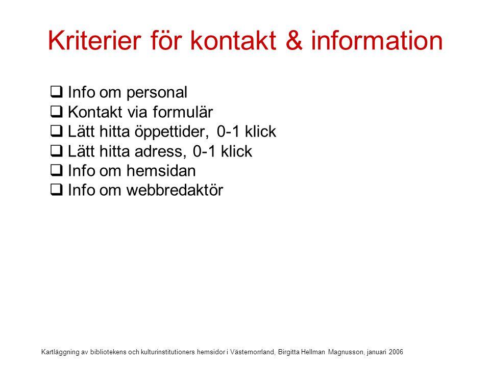 Kriterier för kontakt & information
