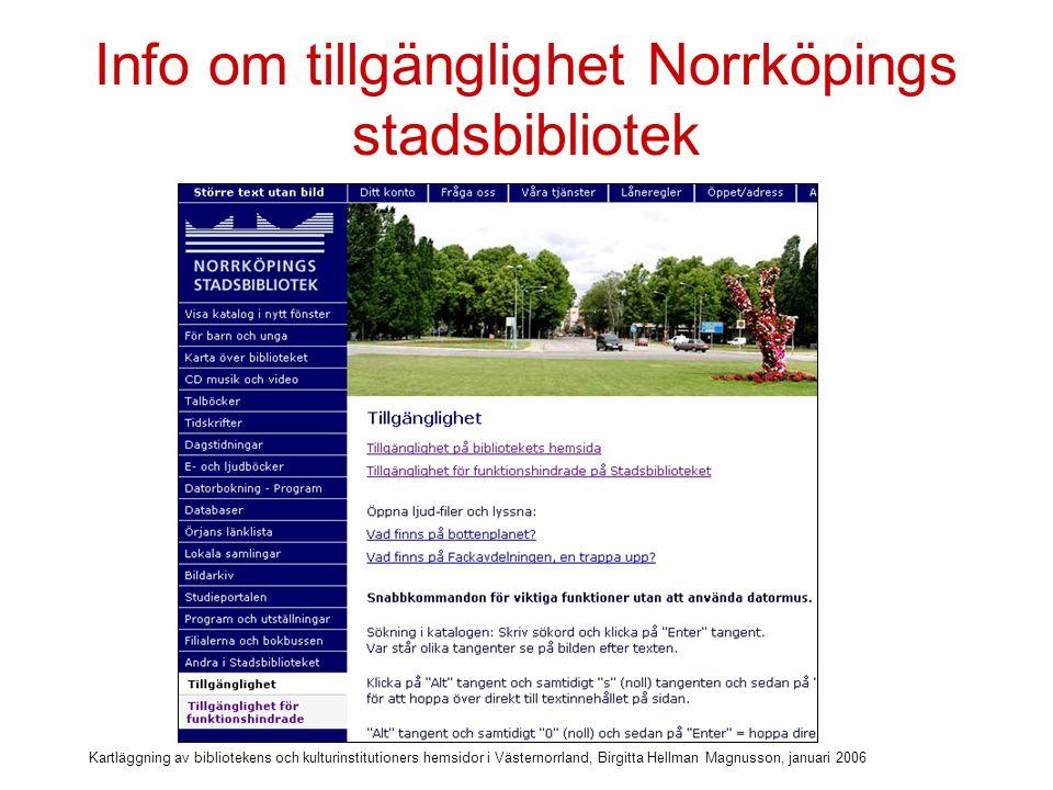 Info om tillgänglighet Norrköpings stadsbibliotek