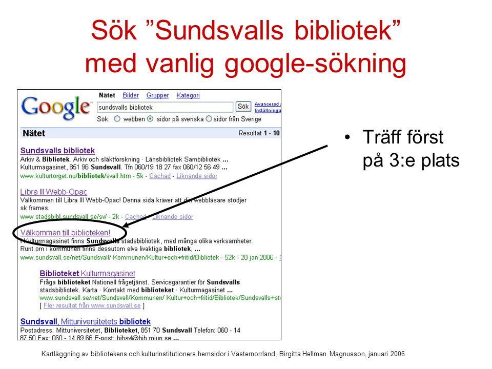 Sök Sundsvalls bibliotek med vanlig google-sökning