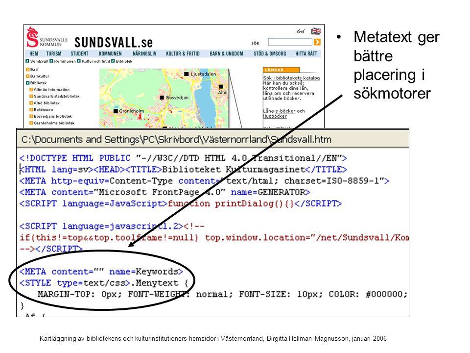 Metatext ger bättre placering i sökmotorer