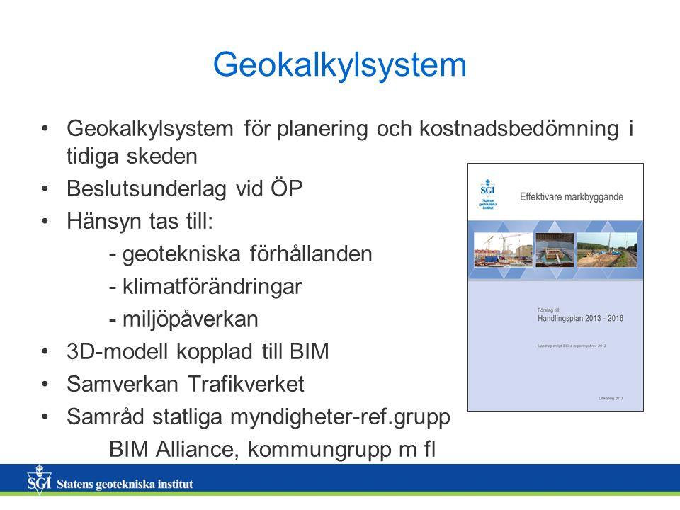 Geokalkylsystem Geokalkylsystem för planering och kostnadsbedömning i tidiga skeden. Beslutsunderlag vid ÖP.