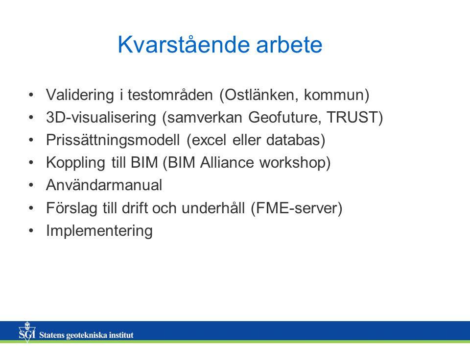 Kvarstående arbete Validering i testområden (Ostlänken, kommun)