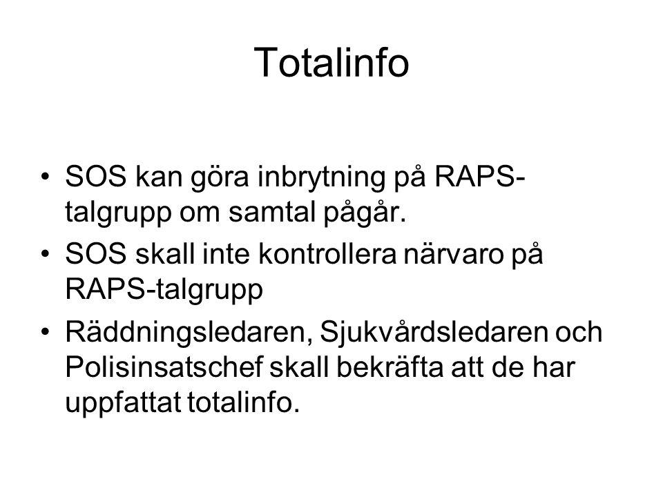 Totalinfo SOS kan göra inbrytning på RAPS-talgrupp om samtal pågår.