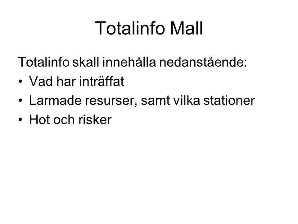 Totalinfo Mall Totalinfo skall innehålla nedanstående: