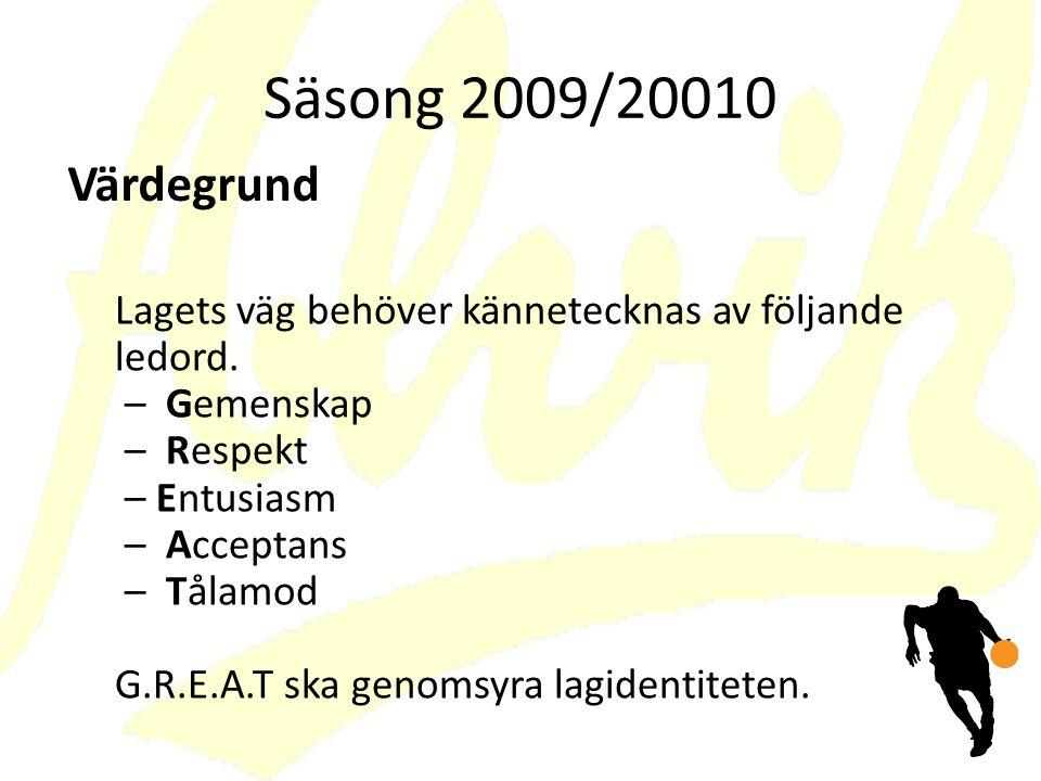 Säsong 2009/20010 Värdegrund.