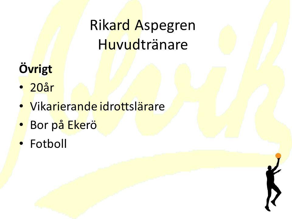 Rikard Aspegren Huvudtränare