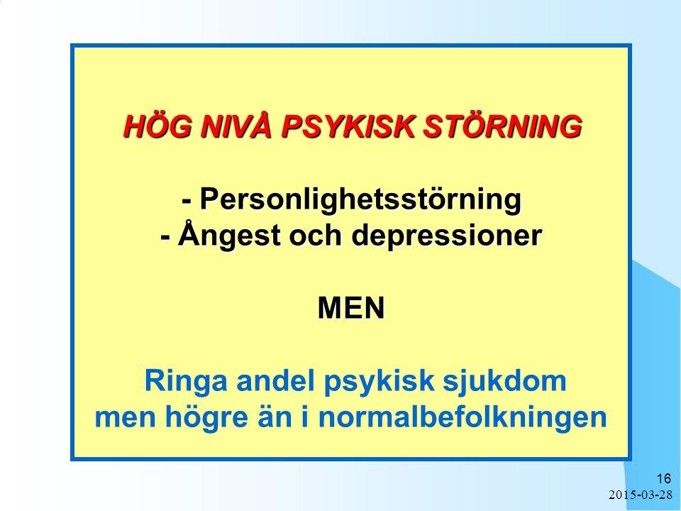 HÖG NIVÅ PSYKISK STÖRNING - Personlighetsstörning - Ångest och depressioner MEN Ringa andel psykisk sjukdom men högre än i normalbefolkningen