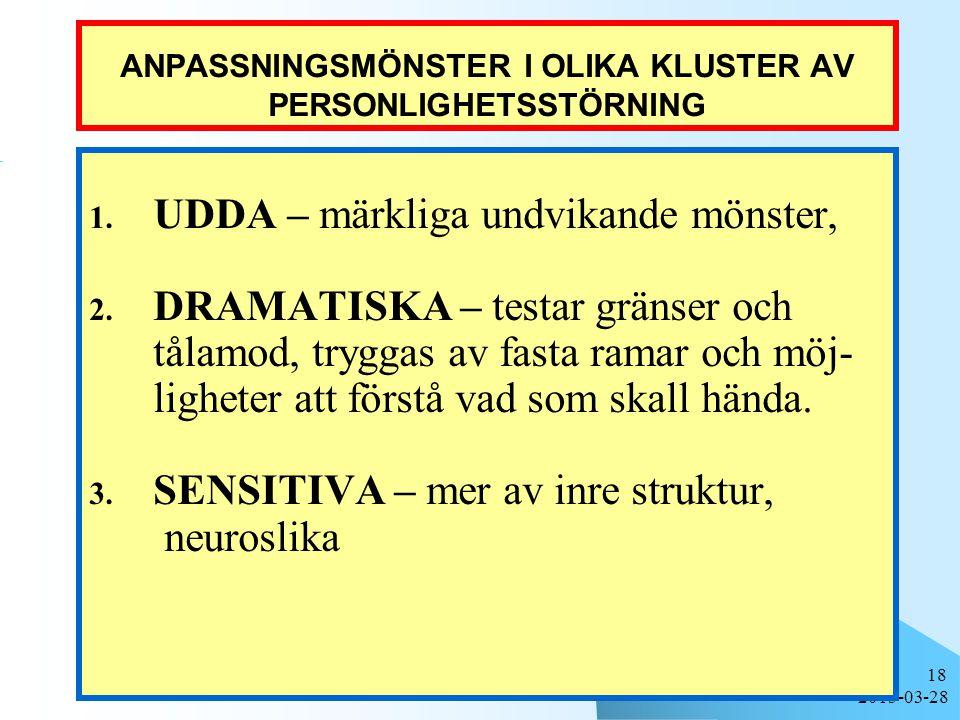 ANPASSNINGSMÖNSTER I OLIKA KLUSTER AV PERSONLIGHETSSTÖRNING