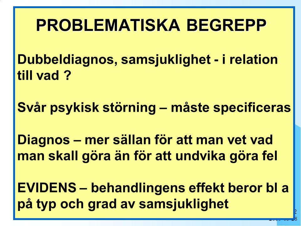 PROBLEMATISKA BEGREPP Dubbeldiagnos, samsjuklighet - i relation till vad Svår psykisk störning – måste specificeras Diagnos – mer sällan för att man vet vad man skall göra än för att undvika göra fel EVIDENS – behandlingens effekt beror bl a på typ och grad av samsjuklighet
