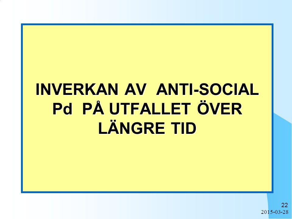 INVERKAN AV ANTI-SOCIAL Pd PÅ UTFALLET ÖVER LÄNGRE TID