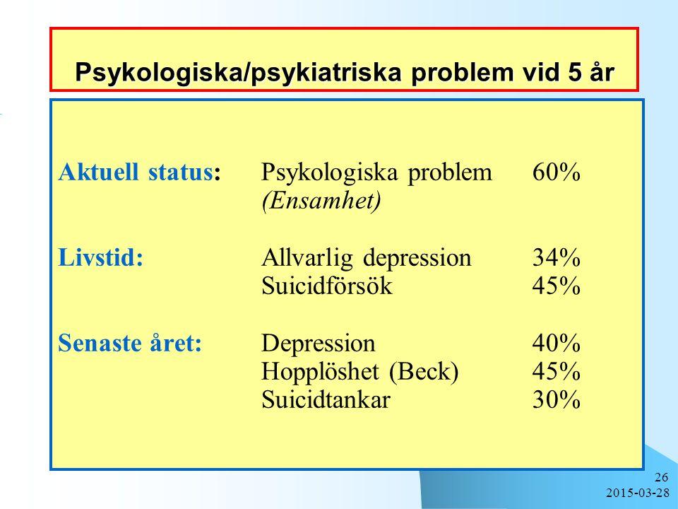 Psykologiska/psykiatriska problem vid 5 år