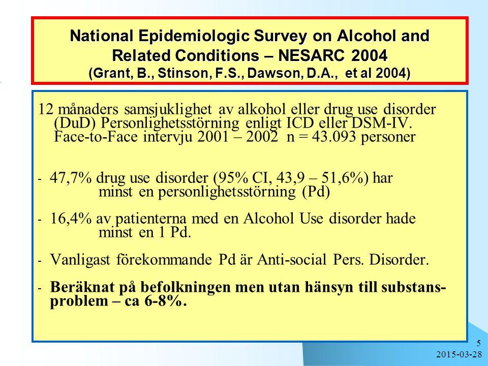 12 månaders samsjuklighet av alkohol eller drug use disorder