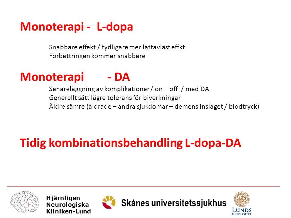 Tidig kombinationsbehandling L-dopa-DA