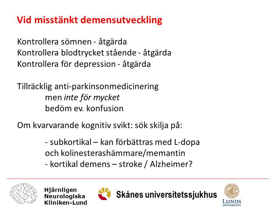 Vid misstänkt demensutveckling