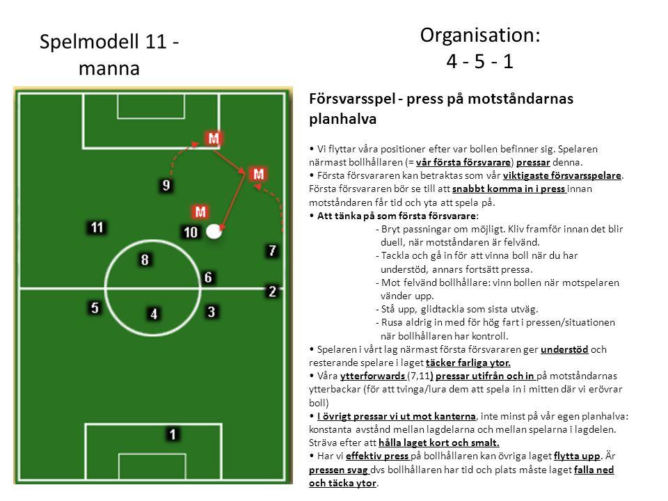 Organisation: 4 - 5 - 1. Försvarsspel - press på motståndarnas planhalva.