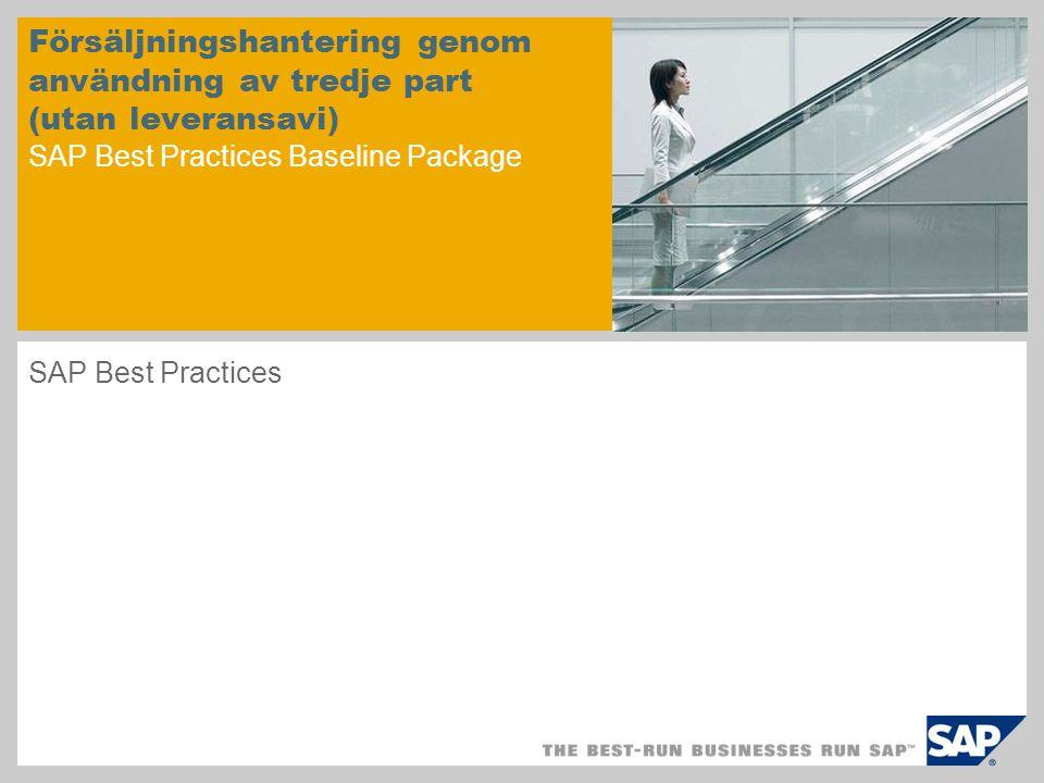 Försäljningshantering genom användning av tredje part (utan leveransavi) SAP Best Practices Baseline Package